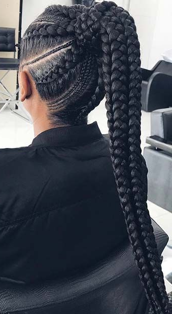 43 Best Braided Ponytail Hairstyles For 2019   Badass Braids For 2018 Ponytail Braid Hairstyles With Thin And Thick Cornrows (View 3 of 25)