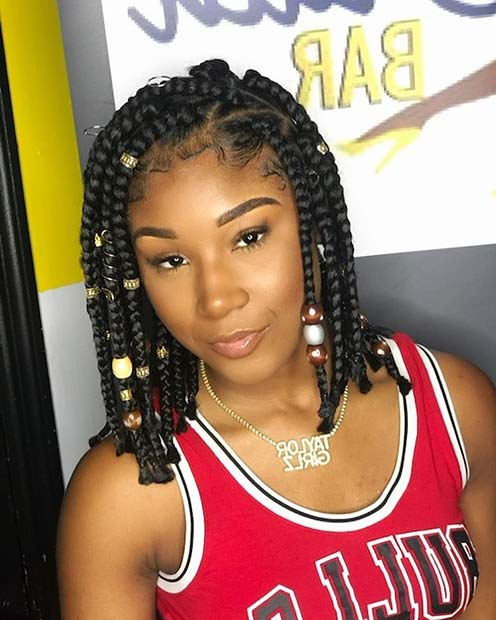 43 Cute Medium Box Braids You Need To Try | Page 2 Of 4 inside Current Layered Bob Braid Hairstyles