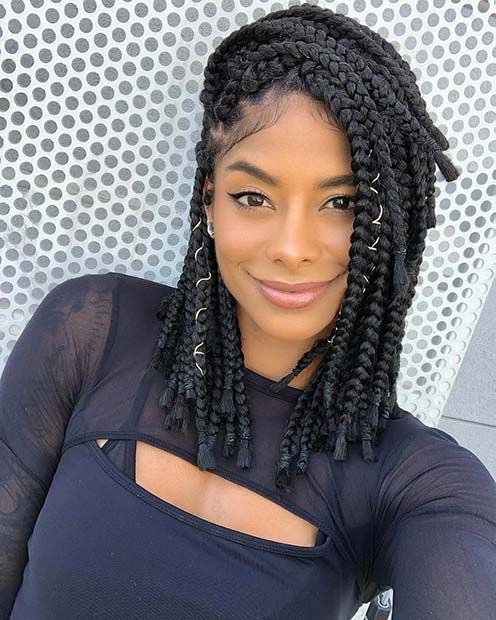 43 Cute Medium Box Braids You Need To Try | Stayglam Regarding Most Popular Black Shoulder Length Braids With Accents (View 10 of 25)