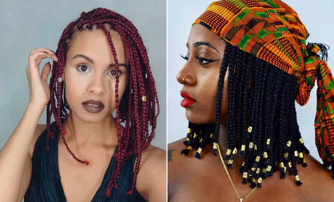 43 Cute Medium Box Braids You Need To Try | Stayglam with Recent Center Parted Bob Braid Hairstyles