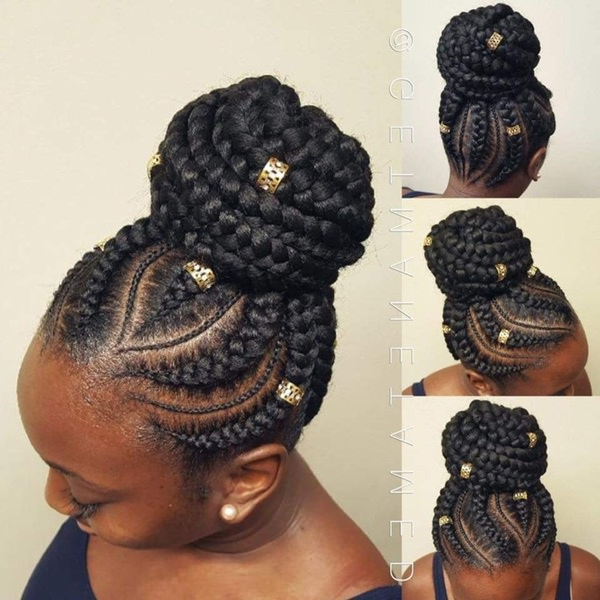 43 New Feed In Braids And How To Do It – Style Easily With Most Up To Date Thick Cornrows Bun Hairstyles (View 6 of 25)