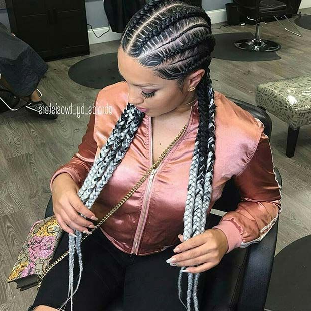 45 Best Ways To Rock Feed In Braids This Season | Braids in Most Up-to-Date Colorful Cornrows Under Braid Hairstyles