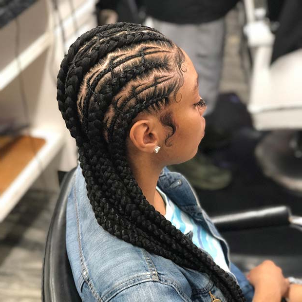 45 Best Ways To Rock Feed In Braids This Season | Stayglam Regarding Most Popular Thin And Thick Cornrows Under Braid Hairstyles (View 13 of 25)