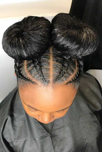 45 Enviable Ways To Rock The Latest Black Braided Hairstyles For Best And Newest Thick Cornrows Bun Hairstyles (View 22 of 25)