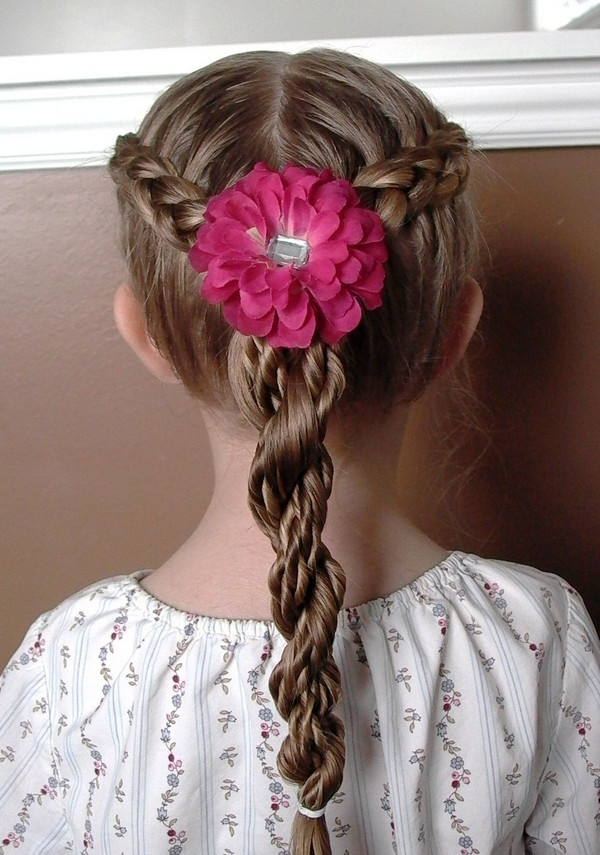45+ Fun & Funky Braided Hairstyles For Kids – Hairstylecamp for Most Recent Funky Sock Bun Micro Braid Hairstyles