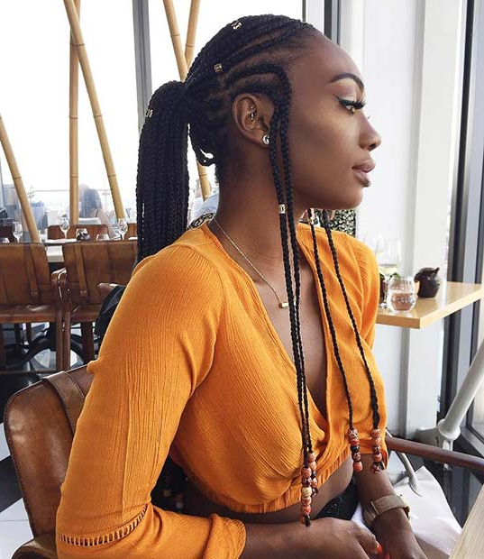 45 Hot Fulani Braids To Copy This Summer | Stayglam Regarding Most Recent Box Braid Bead Ponytail Hairstyles (View 11 of 25)