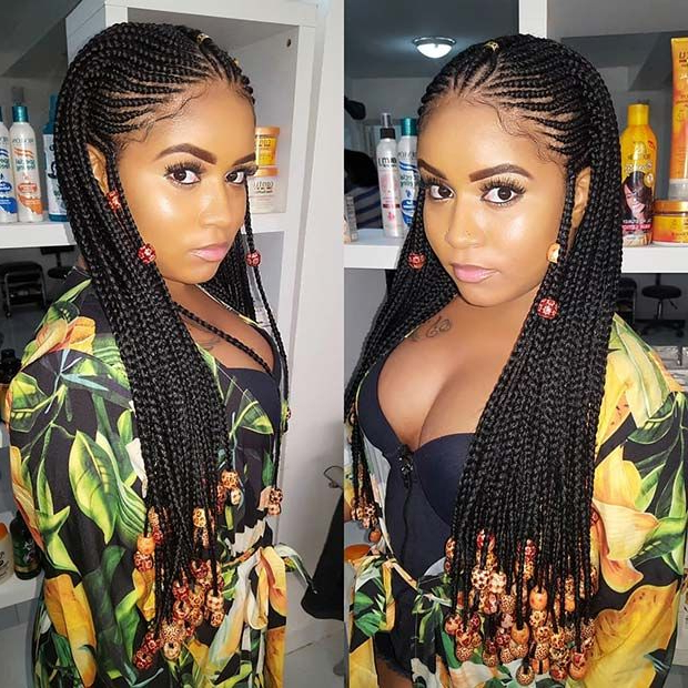 45 Hot Fulani Braids To Copy This Summer | Stayglam Throughout Most Recent Box Braid Bead Ponytail Hairstyles (View 5 of 25)