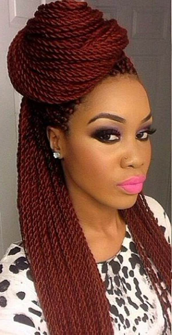 45 Photos Of Rockin' Red Box Braids with Newest African Red Twists Micro Braid Hairstyles