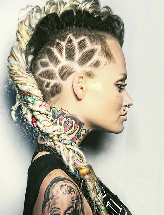 45 Undercut Hairstyles With Hair Tattoos For Women with Current Undershave Micro Braid Hairstyles