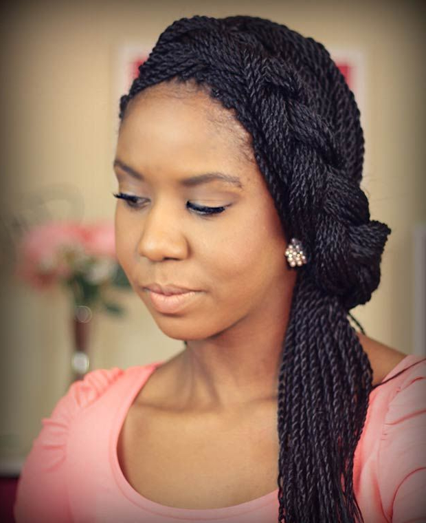49 Senegalese Twist Hairstyles For Black Women | Braids inside Most Current Pastel Colored Updo Hairstyles With Rope Twist