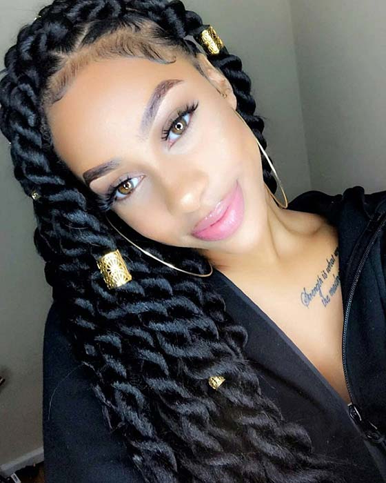 49 Senegalese Twist Hairstyles For Black Women | Stayglam inside Most Recently Side-Parted Micro Twist Hairstyles