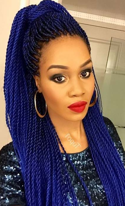 49 Senegalese Twist Hairstyles For Black Women | Stayglam Intended For Most Recently Blue And Black Cornrows Braid Hairstyles (View 19 of 25)