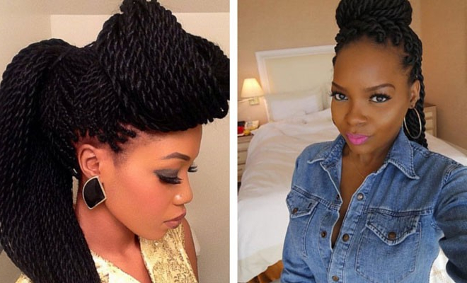 49 Senegalese Twist Hairstyles For Black Women | Stayglam with regard to Most Recent Rope Twist Updo Hairstyles With Accessories