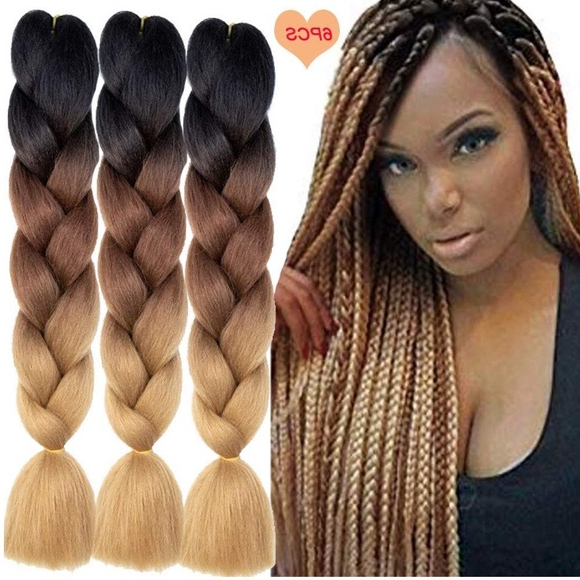 5 Packs Of Black Brown Ombré Braiding Hair *nwt* Boutique In Newest Light Brown Braid Hairstyles (View 4 of 25)