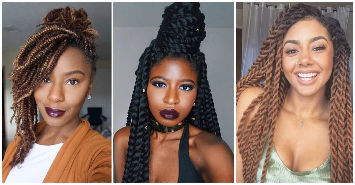 50 Amazing Kinky Twist Hairtyle Ideas You Can't Live Without Inside Newest Back And Forth Skinny Braided Hairstyles (View 11 of 25)