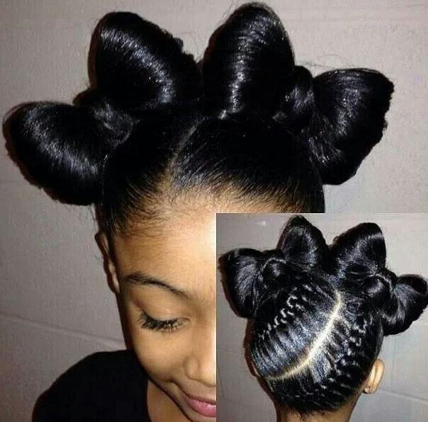 50 Beautiful Hairstyles For Little Black Girls Pertaining To Most Current Minnie Mouse Buns Braid Hairstyles (View 21 of 25)