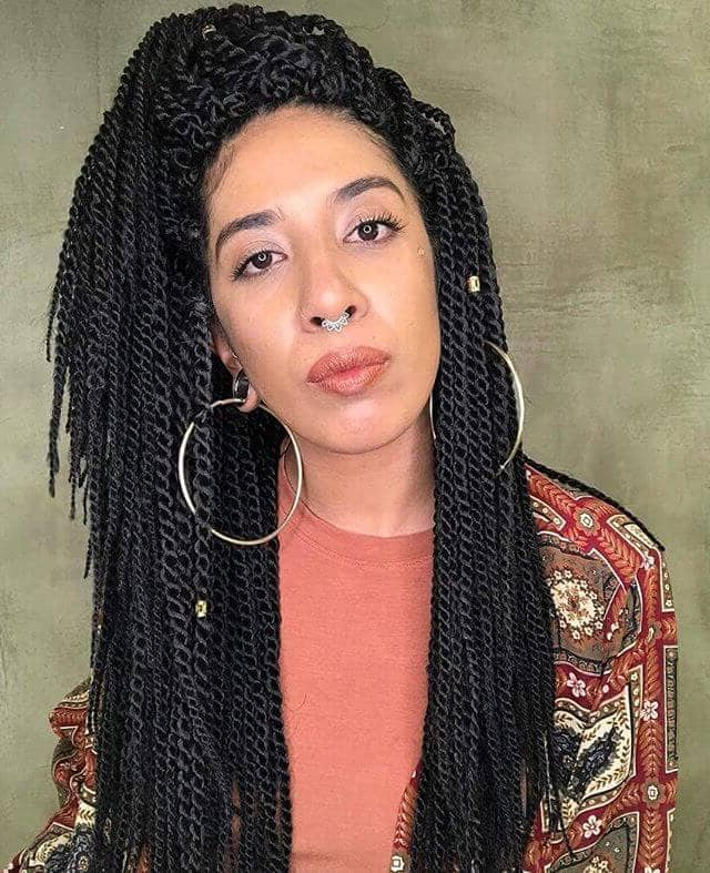 50 Beautiful Ways To Wear Twist Braids For All Hair Textures Within Most Up To Date Centre Parted Long Plaits Braid Hairstyles (View 23 of 25)