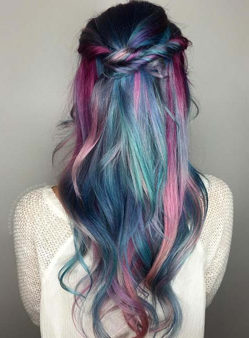 50 Bold Pastel And Neon Hair Colors In Balayage And Ombre Intended For Current Cotton Candy Colors Blend Mermaid Braid Hairstyles (View 14 of 25)