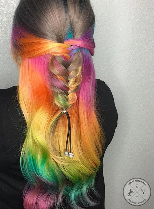 50 Bold Pastel And Neon Hair Colors In Balayage And Ombre Pertaining To Recent Cotton Candy Colors Blend Mermaid Braid Hairstyles (View 19 of 25)