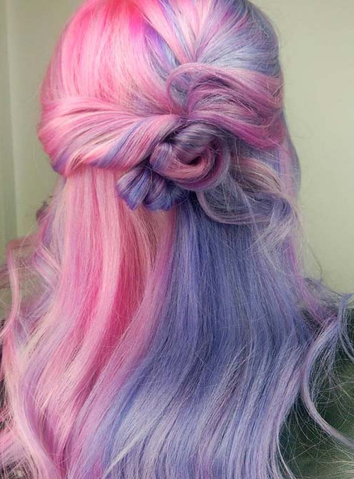 50 Bold Pastel And Neon Hair Colors In Balayage And Ombre Throughout Most Current Cotton Candy Colors Blend Mermaid Braid Hairstyles (View 3 of 25)