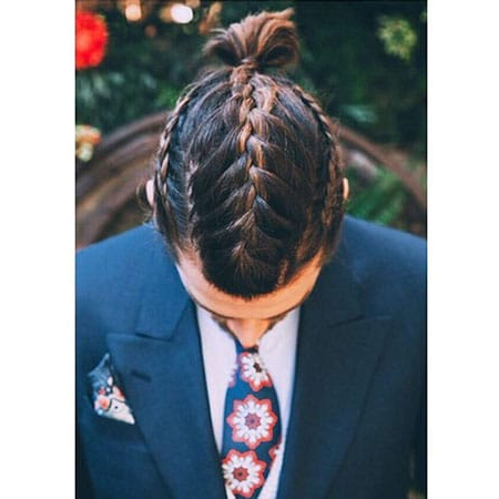 50 Cool Man Braid Hairstyles For Men – The Trend Spotter Pertaining To Newest Triple Under Braid Hairstyles With A Bun (View 16 of 25)