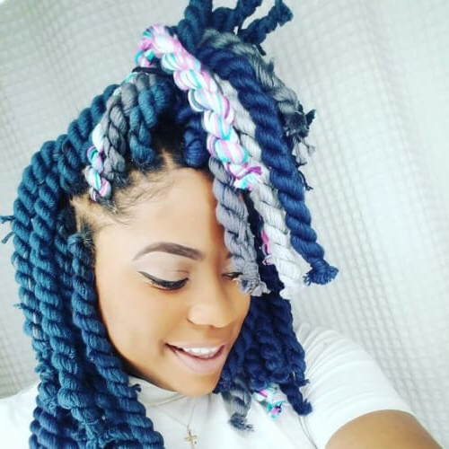 50 Creative Braid Hairstyles With Weave   All Women Hairstyles Pertaining To Recent Blue And Gray Yarn Braid Hairstyles With Beads (View 24 of 25)