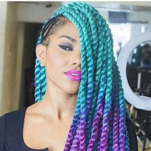 50 Creative Braid Hairstyles With Weave | All Women Hairstyles Regarding 2018 Blue And White Yarn Hairstyles (View 24 of 25)