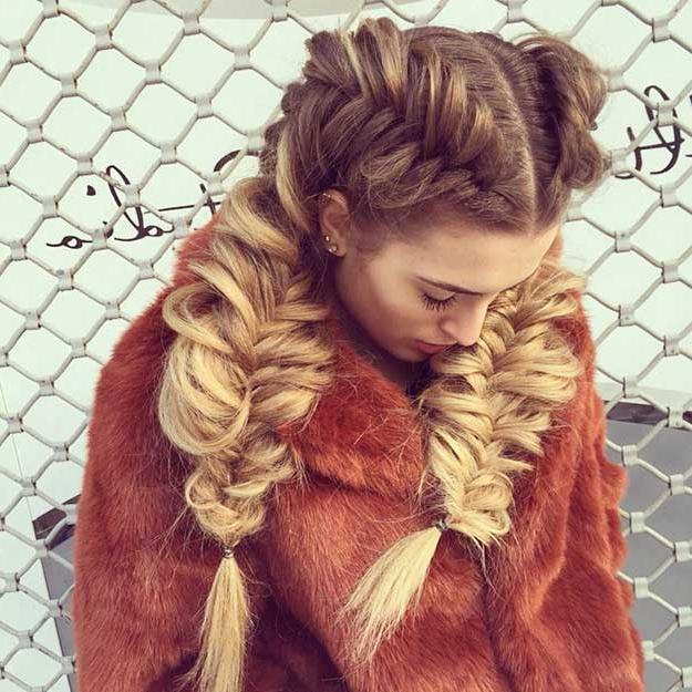 50 French Braid Hairstyles For 2015 | Stayglam Regarding Latest Thick Two Side Fishtails Braid Hairstyles (View 5 of 25)