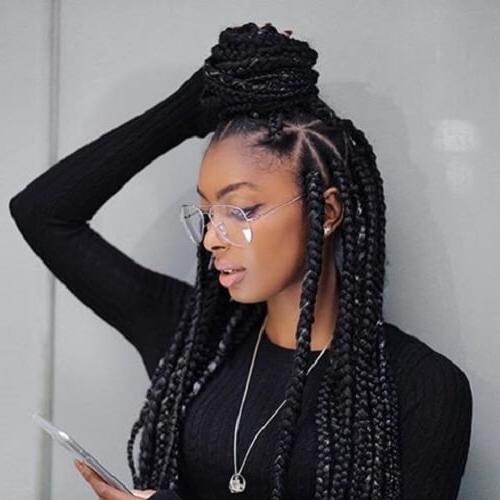 50 Glamorous Ways To Rock Box Braids | Hair Motive Hair Motive For Recent Half Up Box Bob Braid Hairstyles (View 4 of 25)
