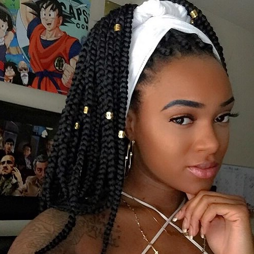 50 Glamorous Ways To Rock Box Braids | Hair Motive Hair Motive Intended For Most Current Box Braid Bead Ponytail Hairstyles (View 3 of 25)