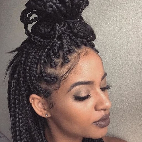 50 Glamorous Ways To Rock Box Braids   Hair Motive Hair Motive Intended For Most Popular Blonde Asymmetrical Pigtails Braid Hairstyles (View 11 of 25)