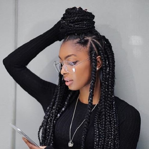 50 Glamorous Ways To Rock Box Braids | Hair Motive Hair Motive Regarding Latest Braided Topknot Hairstyles With Beads (View 5 of 25)