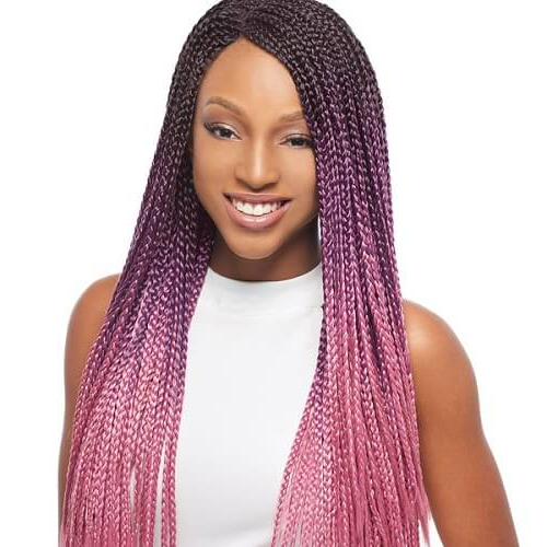 50 Glamorous Ways To Rock Box Braids   Hair Motive Hair Motive Regarding Most Recent Skinny Braid Hairstyles With Purple Ends (View 22 of 25)