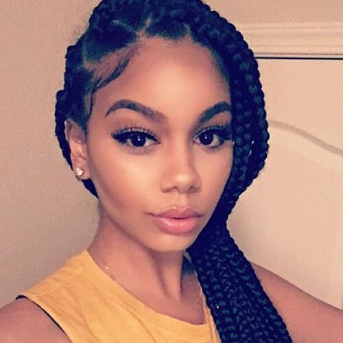 50 Glamorous Ways To Rock Box Braids | Hair Motive Hair Motive With Current Stylishly Swept Back Braid Hairstyles (View 23 of 25)