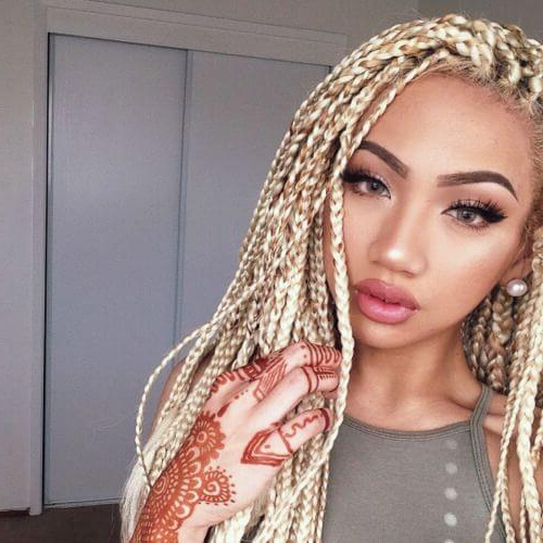 50 Glamorous Ways To Rock Box Braids   Hair Motive Hair Motive With Most Popular Blonde Asymmetrical Pigtails Braid Hairstyles (View 15 of 25)