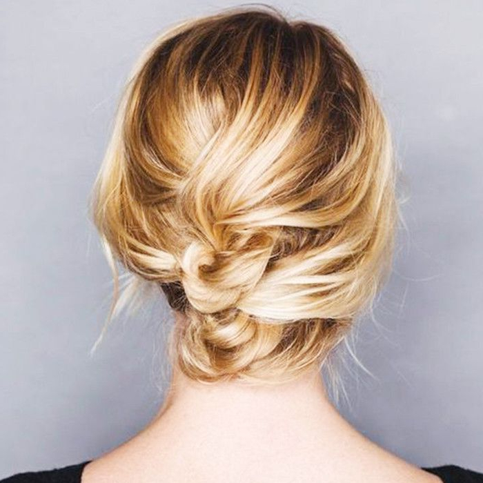 50 Incredibly Chic Updo Ideas For Short Hair Within 2018 Rolled Half Updo Bob Braid Hairstyles (View 7 of 25)