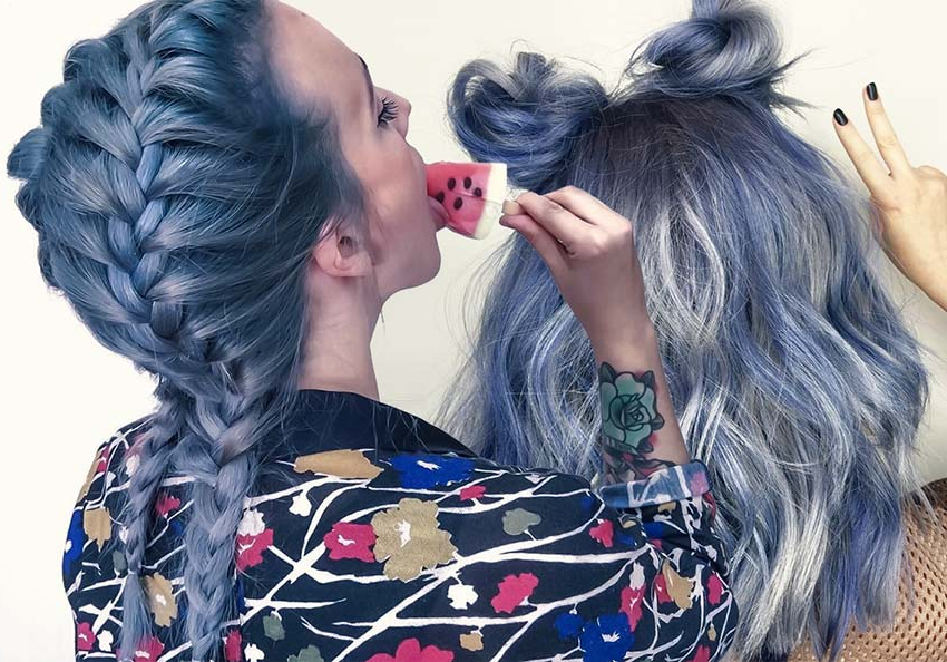 50 Magically Blue Denim Hair Colors You Will Love Within Best And Newest Royal Braided Hairstyles With Highlights (View 20 of 25)