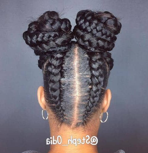 50 Natural Goddess Braids To Bless Ethnic Hair In 2019 Intended For Current Minnie Mouse Buns Braid Hairstyles (View 12 of 25)