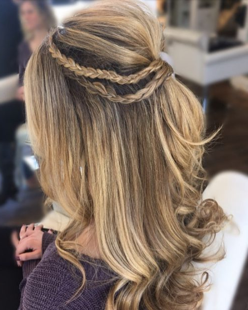50 Party Hairstyles That Are Fun & Chic For 2019 For 2018 Rolled Half Updo Bob Braid Hairstyles (View 23 of 25)