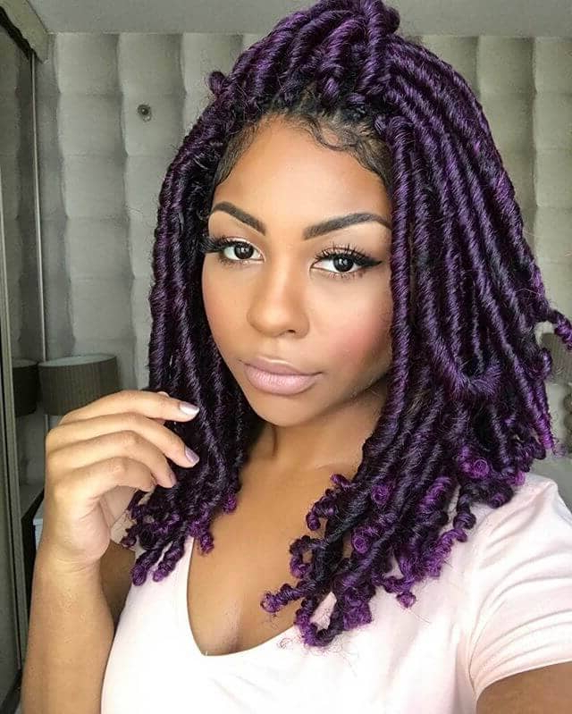 50 Stunning Crochet Braids To Style Your Hair For 2019 With Latest Skinny Braid Hairstyles With Purple Ends (View 4 of 25)