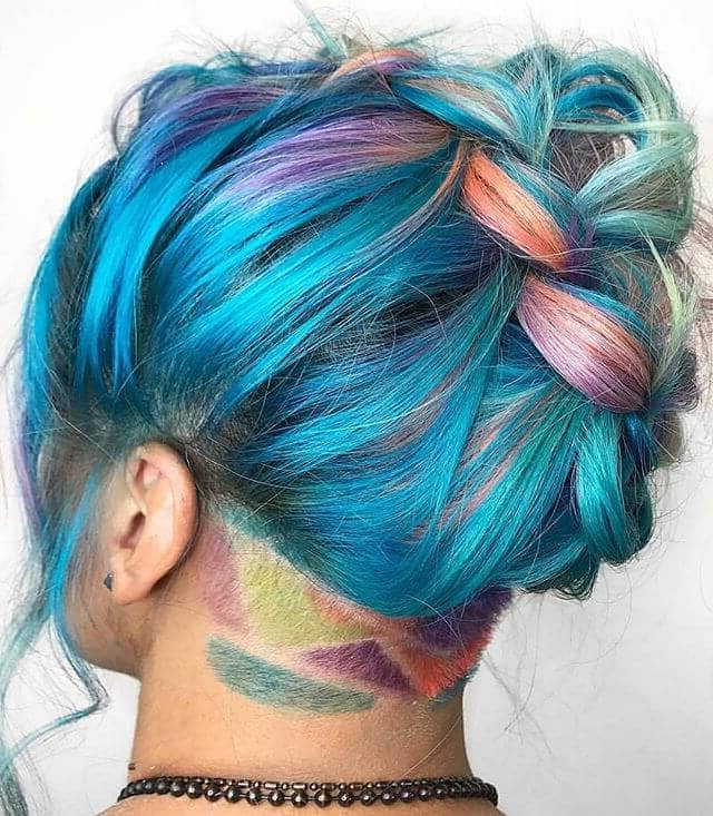 50 Stunning Rainbow Hair Color Styles Trending In 2019 For Newest Blue Sunset Skinny Braided Hairstyles (View 21 of 25)