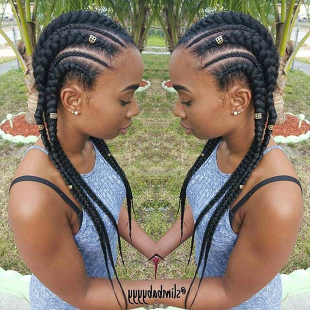 51 Best Ghana Braids Hairstyles | Page 3 Of 5 | Stayglam With Regard To Most Popular Thick And Thin Braided Hairstyles (View 5 of 25)
