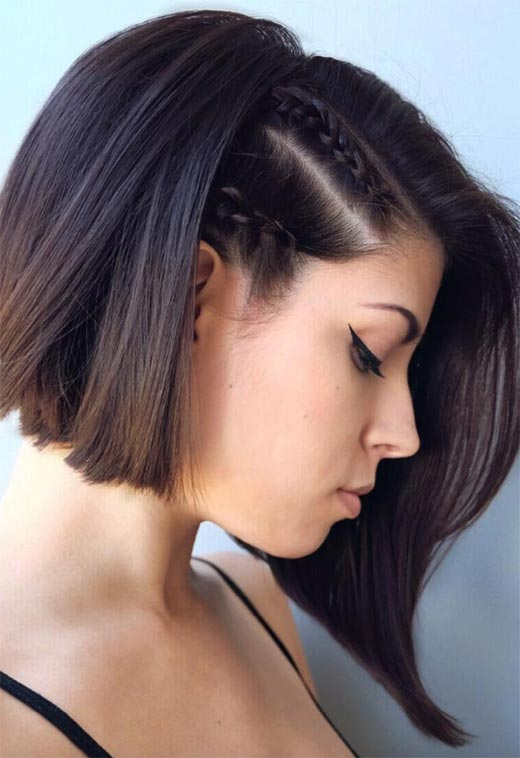 51 Cute Braids For Short Hair: Short Braided Hairstyles For Intended For Latest Side Parted Braided Bob Hairstyles (View 17 of 25)