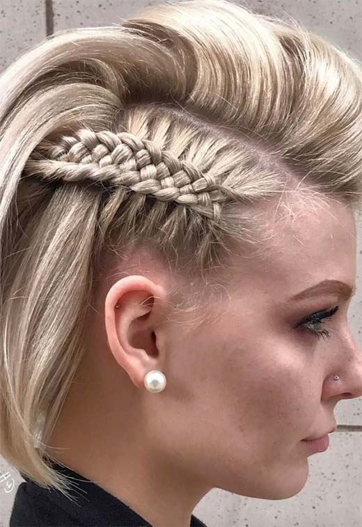 51 Cute Braids For Short Hair: Short Braided Hairstyles For Regarding Recent Tiny Braid Hairstyles In Crop (View 9 of 25)