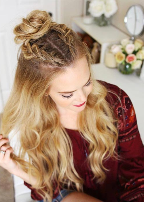 51 Pretty Holiday Hairstyles For Every Christmas Outfit With Current Half Up Top Knot Braid Hairstyles (View 10 of 25)