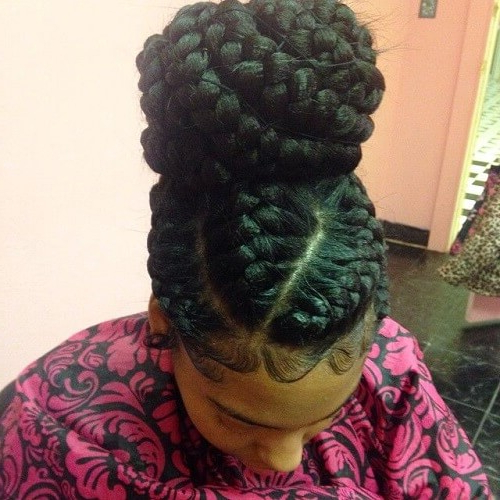 55 Flattering Goddess Braids Ideas To Inspire You | Hair Pertaining To 2018 Thick Cornrows Bun Hairstyles (View 16 of 25)