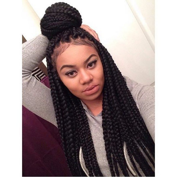 55 Inspirational Jumbo Box Braids To Rock – Style Easily Intended For Latest Half Up Box Bob Braid Hairstyles (View 10 of 25)