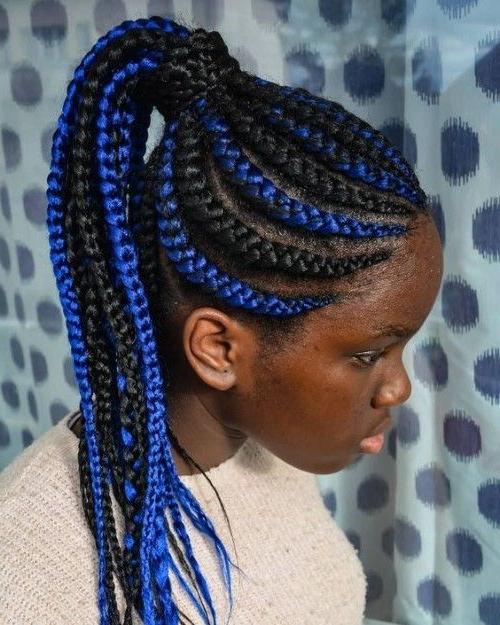 56 Wunderschöne Hellblaue Frisuren Für Schwarze Frauen | Box With Regard To Most Current Blue Sunset Skinny Braided Hairstyles (View 3 of 25)