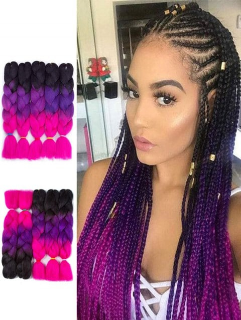 5Pcs Colorful Long Synthetic Jumbo Braids Hair Extensions Intended For Recent Multicolored Extension Braid Hairstyles (View 6 of 25)