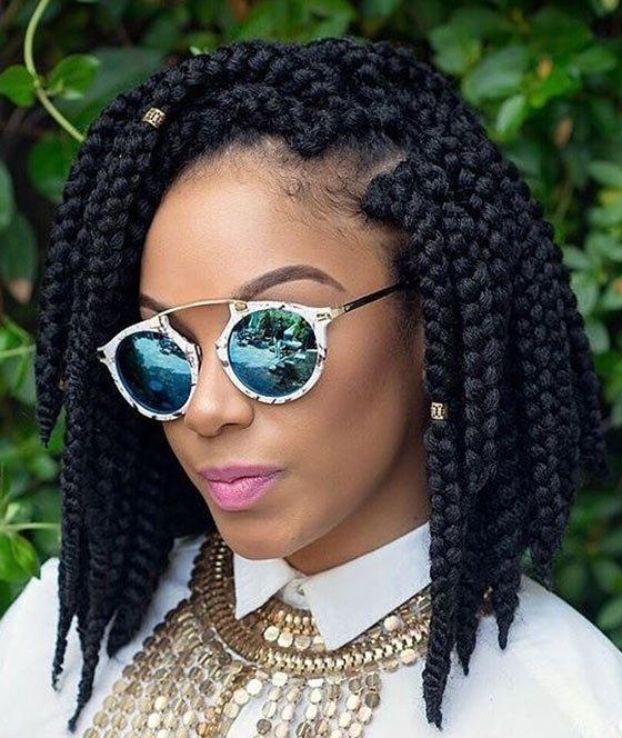 60 Bob Haircuts For Black Women Inside Latest Center Parted Bob Braid Hairstyles (View 18 of 25)